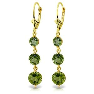 14K. SOLID GOLD CHANDELIER EARRING WITH PERIDOTS